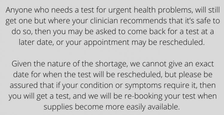 Blood tests shortage