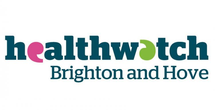 Healthwatch Brighton & Hove logo, Blue text, Letters E and A replaced with speech marks