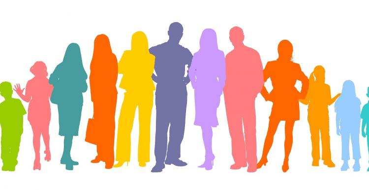 white background, block coloured figures standing in a row