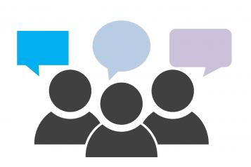 Graphic image, Three block figures, Black, Speech bubbles above each, Blue, Light Blue and Purple Speech Bubbles