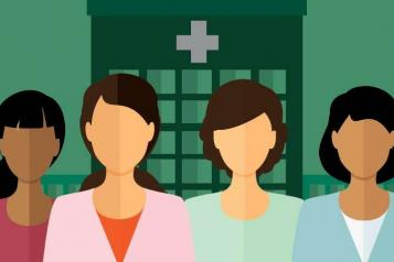 Graphic image, Green Background with hospital outline, 4 women in foreground