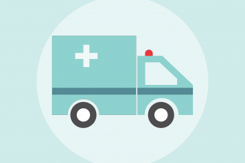 Graphic, Turquoise Colour, Ambulance Side View, Central Alignment
