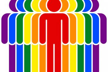 Graphic images, Figures lined up across image, Each one different colour of the rainbow