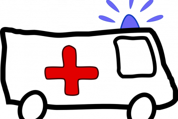 line drawing, clip art, ambulance, blue light at front, red cross on side