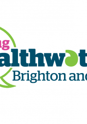 Text Logo,Young Healthwatch, Pink, Blue, Green