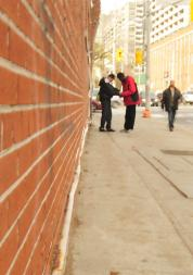 Blurred image, Long shot, 2 people, Exchanging in public