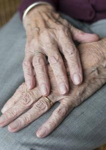 Close up image, elderly woman, Hands on lap