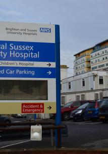 Royal Sussex County Hospital sign in front of the hospital