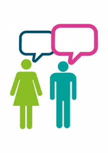 clip art images of a male and female with empty speech bubbles